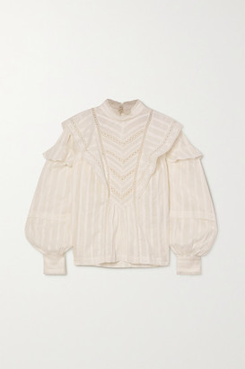 Etoile Isabel Marant Reign Lace-trimmed Ruffled Cotton-jacquard Blouse - White