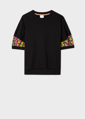 Paul Smith Women's Black Short-Sleeve Sweatshirt With 'Ditsy Floral' Trim