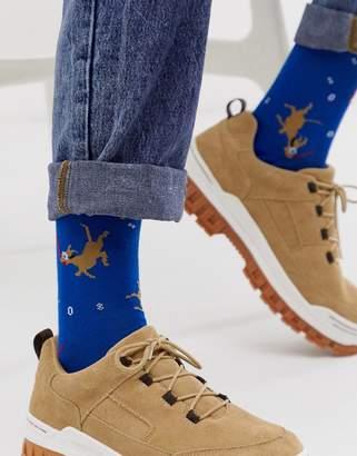 Asos Design DESIGN ankle sock with diving dog print-Blue