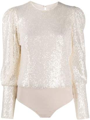 Twin-Set Sequin-Embellished Bodysuit Blouse