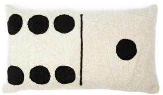 The Elder Statesman Three And Two Domino-applique Cushion - Womens - White Black