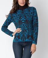 Yuka Paris Black & Turquoise Abstract Turtleneck