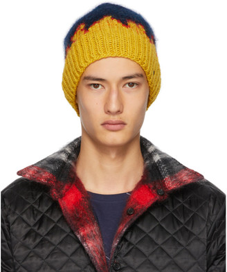 Bless Navy and Yellow Hand-Knit Flame Tongue Beanie