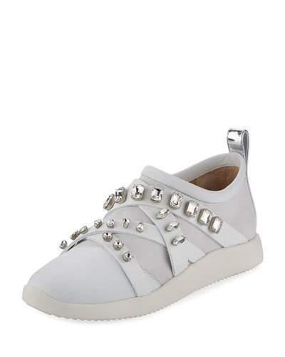 Giuseppe Zanotti Jeweled Leather/Suede Slip-On Sneaker, White