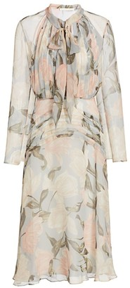 Jason Wu Collection Floral Silk Chiffon Tieneck Dress