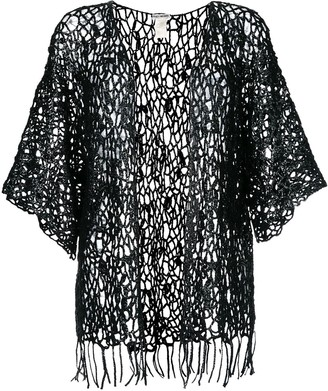Issey Miyake Pre Owned Sheer Lace Knitted Cardigan