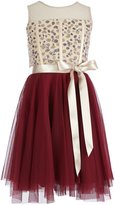 Teeze Me Girls Big Girls 7-16 Rhinestone-Embellished/Tulle Fit-And-Flare Dress