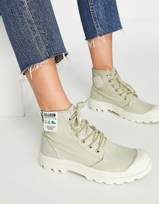 Palladium Pampa Hi organic cotton lace up ankle boots in sage green