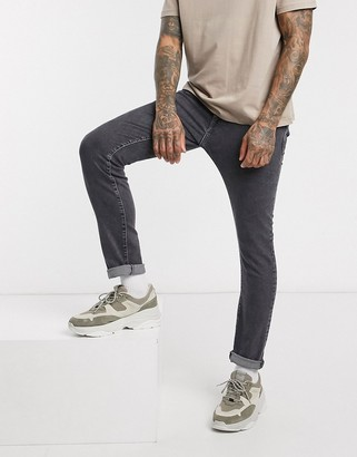 Selected slim fit organic cotton jeans in gray