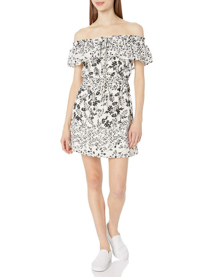 My Michelle Women's Off The Shoulder Pop Over Dress with Halter Neck