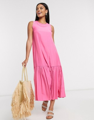 Pieces satin maxi dress with tie open back in bright pink