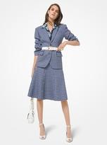 Michael Kors Tattersall Stretch Wool Push-Up Sleeve Blazer
