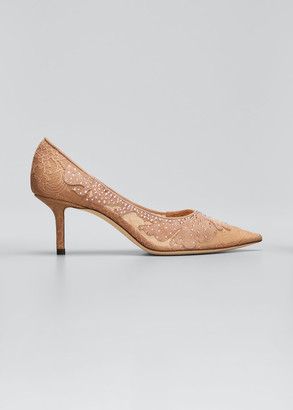 Jimmy Choo 65mm Love Suede & Lace Pumps