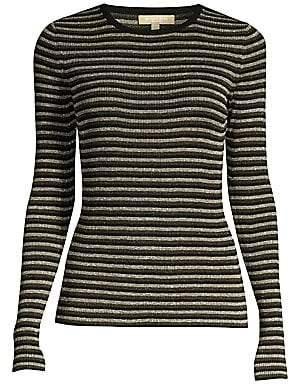 Michael Kors Women's Stripe Long-Sleeve Rib-Knit Sweater