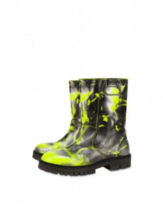 Moschino Abrasive Calf Boots Man Yellow Size 41 It - (8 Us)