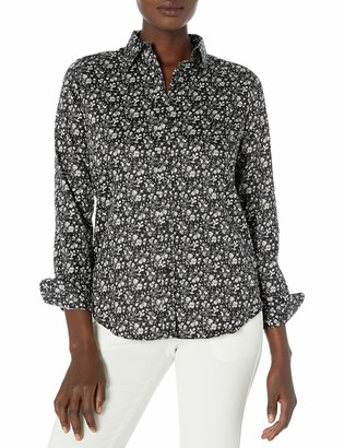 Chaps Women's Long Sleeve Non Iron Cotton Sateen-Shirt