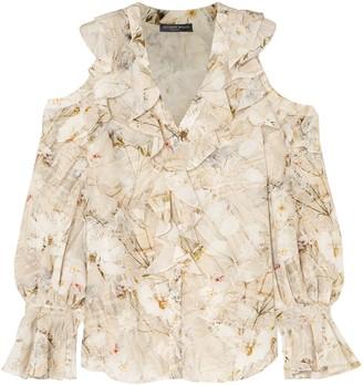 Alexander McQueen Cold-shoulder Ruffled Floral-print Silk Blouse