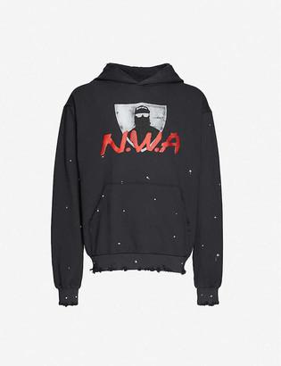 Bravado The Label Distressed graphic-print cotton-jersey hoody