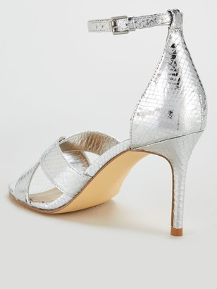 Very Gemima Wide Fit Mid Heel Barely There Sandals - Silver