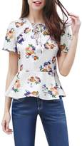 Allegra K Women's Floral Prints Lace Up V Neck Short Sleeves Peplum Top M