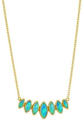 Gurhan Pointelle Hue 24K Yellow Gold, 22K Yellow Gold & Opal Bar Pendant Necklace