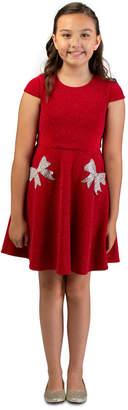 Bonnie Jean Big Girls Sparkle Knit Skater Dress With Rhinestone Bow Pockets