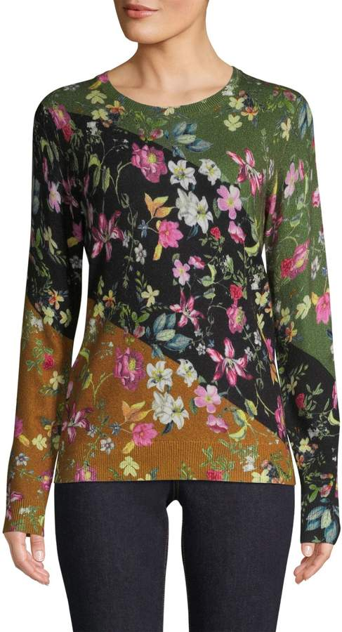 Lord & Taylor Cashmere Floral Crew Neck Sweater