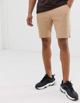BEIGE Asos Design ASOS DESIGN two-piece jersey skinny shorts in waffle