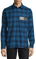 Givenchy Plaid Flannel Shirt w/Leather Stars Patch