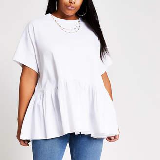 River Island Plus white peplum T-shirt