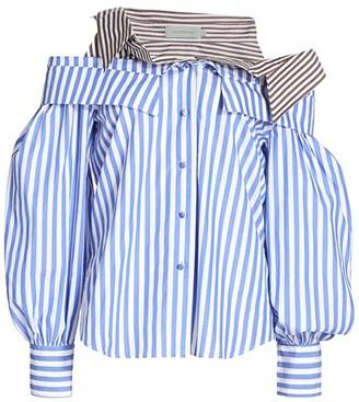 Silvia Tcherassi Aida Cold-Shoulder Pinstripe Shirt