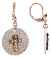 Betsey Johnson Cross Disc Drop Earrings