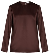 Raey Crew-neck silk-satin blouse