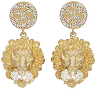 Gucci Gold Crystal Lion Head Earrings