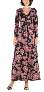 24seven Comfort Apparel Women's Elegant Floral Long Sleeve Maxi Dress