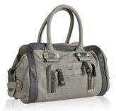 dove grey leather 'Raquel' pocket satchel
