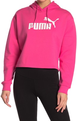 Puma Elevated Logo Cropped Pull-Over Hoodie