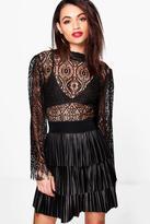 boohoo Bea Leather Look Pleated Mini Skirt
