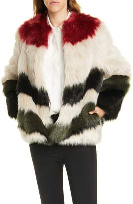 Frame Stripe Faux Fur Jacket