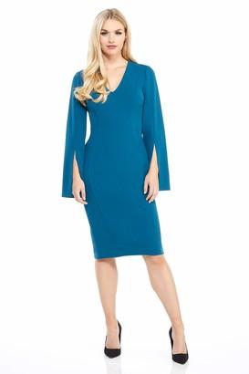 London Times Women's V Neck Split Long Sleeve Crepe MIDI Sheath Dress