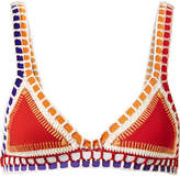 Kiini Kaia Crochet-trimmed Triangle Bikini Top - Red