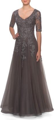 La Femme Lace & Tulle Gown