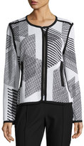 Misook Geometric-Print Textured Zip Jacket, White/Black