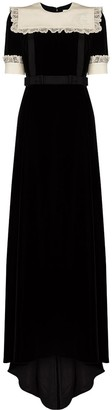 Gucci Bib-Collar Velvet Maxi Dress