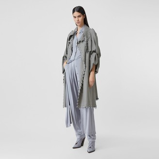 Burberry Crystal Ringpierced Wool Reconstructed Trench Coat