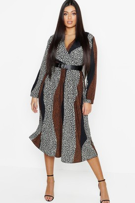 boohoo Plus Mix Leopard Print Wrap Midi Dress
