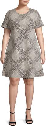 Calvin Klein Plaid Short-Sleeve Dress
