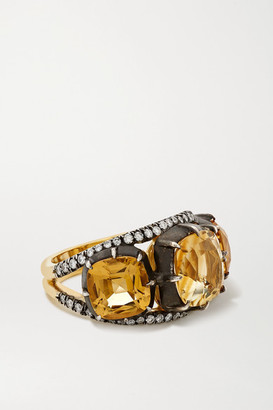 Fred Leighton Collection Sterling Silver-topped 18-karat Gold, Citrine And Diamond Ring - 6