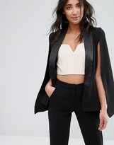 Girls On Film Cape Jacket With Contrast Lapel