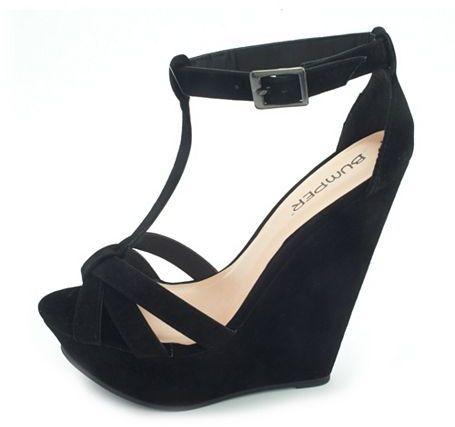 Charlotte Russe Velvet T-Strap Wedge Sandal